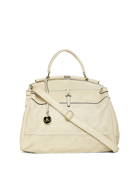 Diana Korr Beige Self Design Handheld Bag