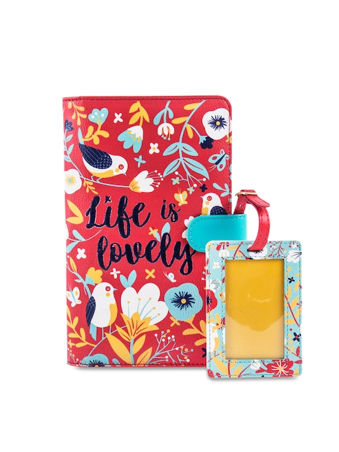 Chumbak Women Red & Yellow Textured Passport Holder