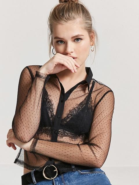 FOREVER 21 Women Black Regular Fit Self Design Sheer Casual Shirt