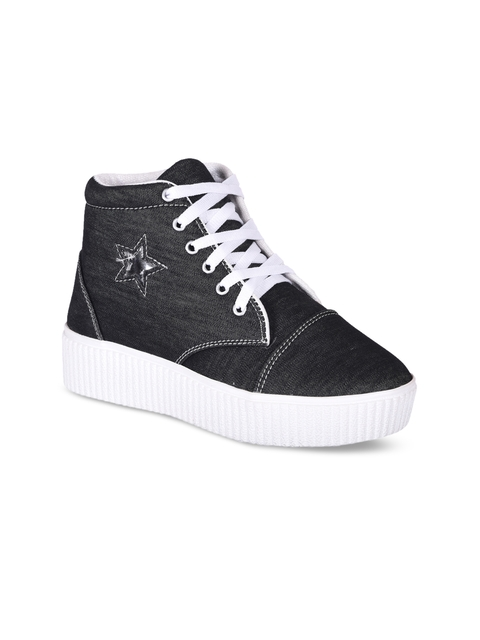 meriggiare Women Black Solid Canvas High-Top Flat-Boots