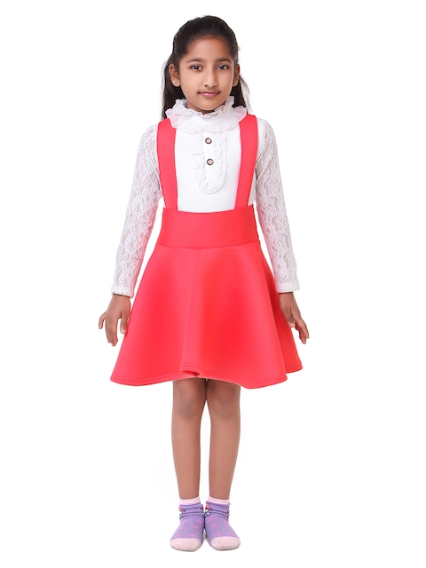 LilPicks Girls Peach-Coloured & White Solid Top with Skirt