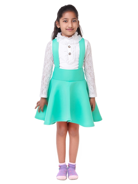 LilPicks Girls Green & White Solid Top with Skirt