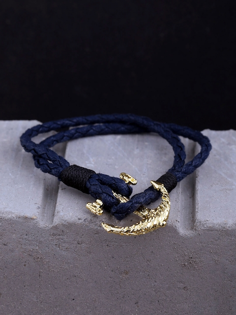Dare by Voylla Blue Brass Gold-Plated Handcrafted Multistrand Bracelet