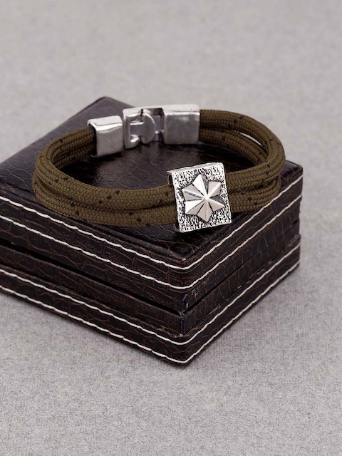 Dare by Voylla Men Silver-Toned & Olive Green Metal Silver-Plated Handcrafted Multistrand Bracelet
