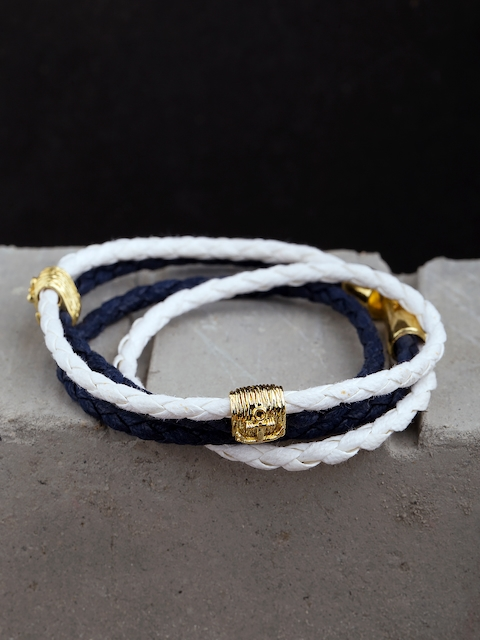Dare by Voylla Men Navy Blue & White Brass Gold-Plated Handcrafted Multistrand Bracelet