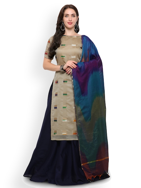 Inddus Beige & Navy Blue Printed Semi-Stitched Lehenga & Unstitched Blouse with Dupatta