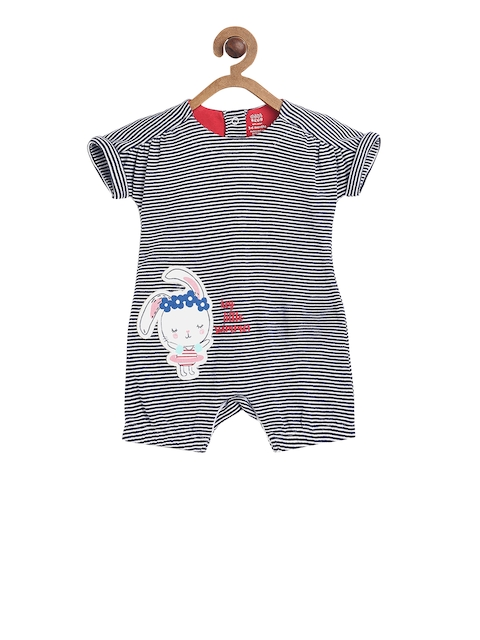 MINI KLUB Girls Navy Blue & White Striped Rompers