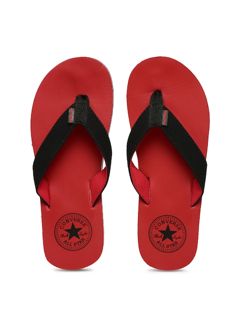 Converse Men Black & Red Solid Thong Flip-Flops