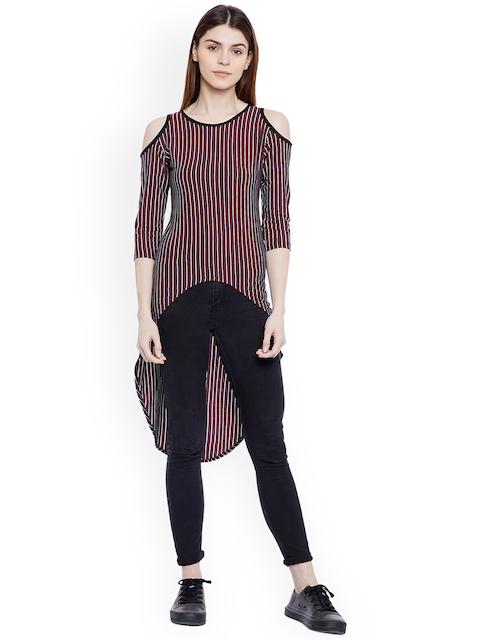 Hypernation Women Black & White Striped High-Low Cold Shoulder Top