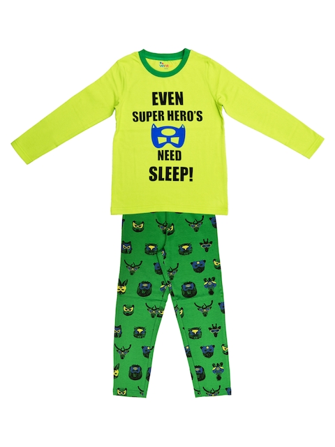 ventra Boys Lime Green & Green Printed Night suit
