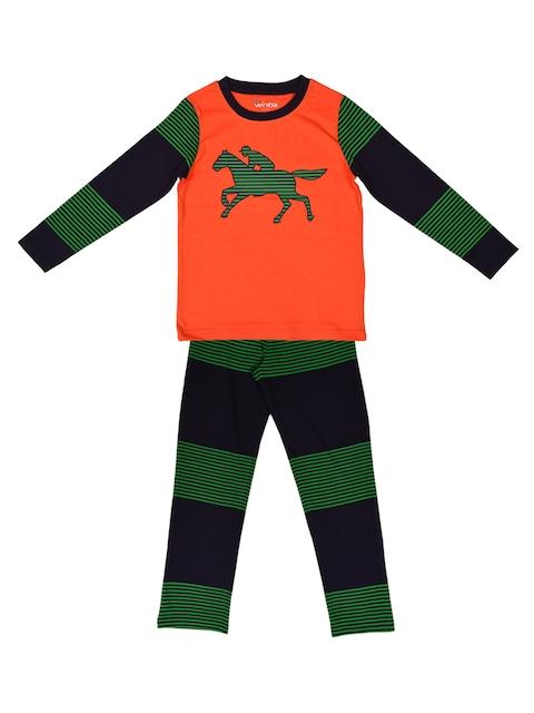 ventra Boys Orange & Green Printed Night suit