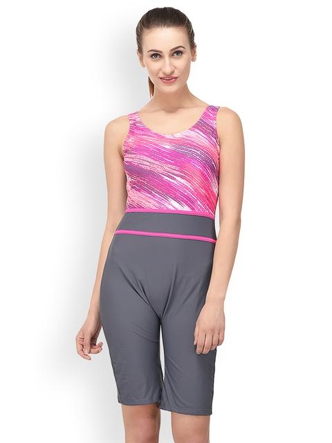 VOXATI Women Pink & Grey Printed Swimsuit bik343m