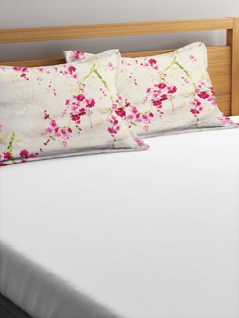 "CHRISTY Set of 2 Grey & Pink Floral Print 20""x 29.5"" Rectangular Pillow Covers"