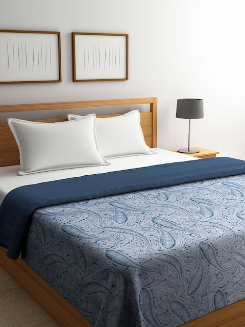CHRISTY Blue & Grey Paisley Jacquard Patterned 200 TC Double Bed Duvet Cover
