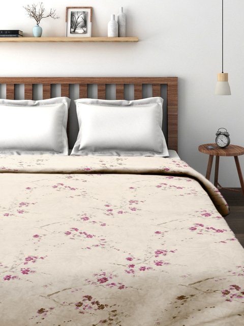 CHRISTY Off-White & Pink Floral Print 230 TC Double Bed Duvet Cover