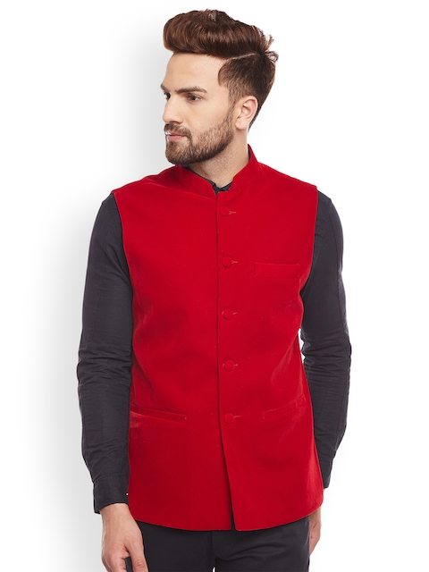 Hancock Red Solid Nehru Jacket