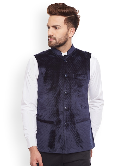 Hancock Navy Blue Woven Design Nehru Jacket