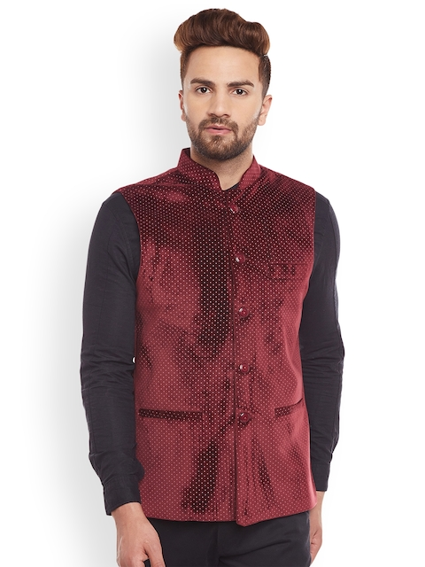 Hancock Marron Printed Nehru Jacket