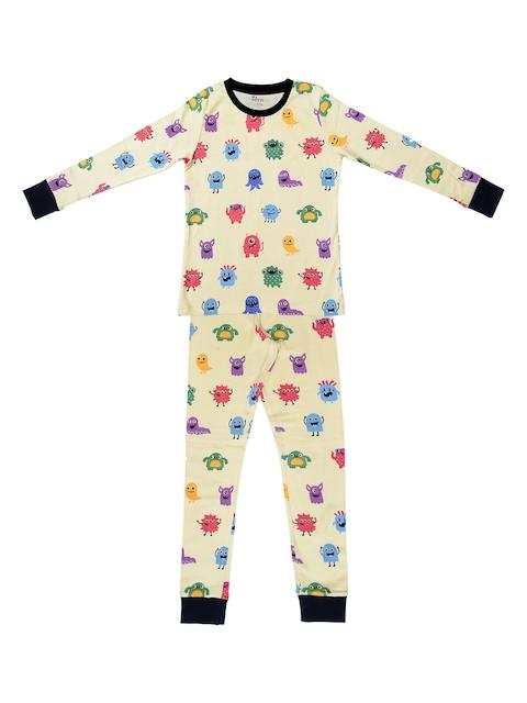 ventra Girls Beige & Multicoloured Printed Night suit VNT_0056