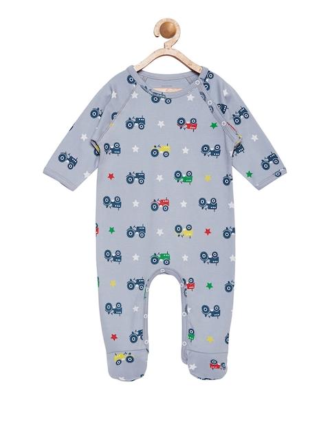 berrytree Kids Grey & Navy Blue Printed Sleepsuit