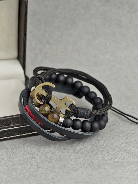 Dare by Voylla Set Of 3 Keep-it-Real Beaded Gypsy Bracelets For Men