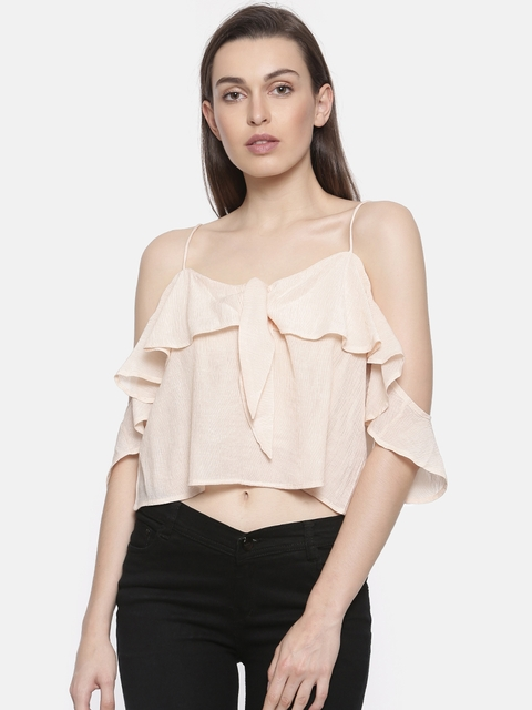 Ginger by Lifestyle Women Peach-Coloured Solid Top