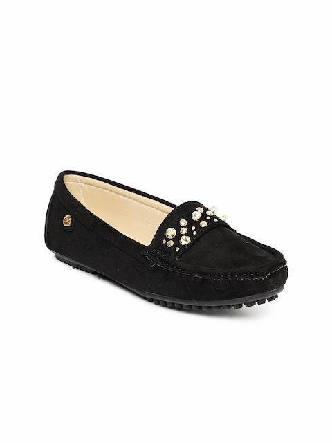 Carlton London Women Black Embellished Loafers
