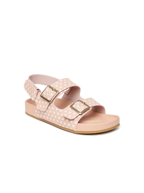 Fame Forever by Lifestyle Girls Peach-Coloured & White Comfort Sandals