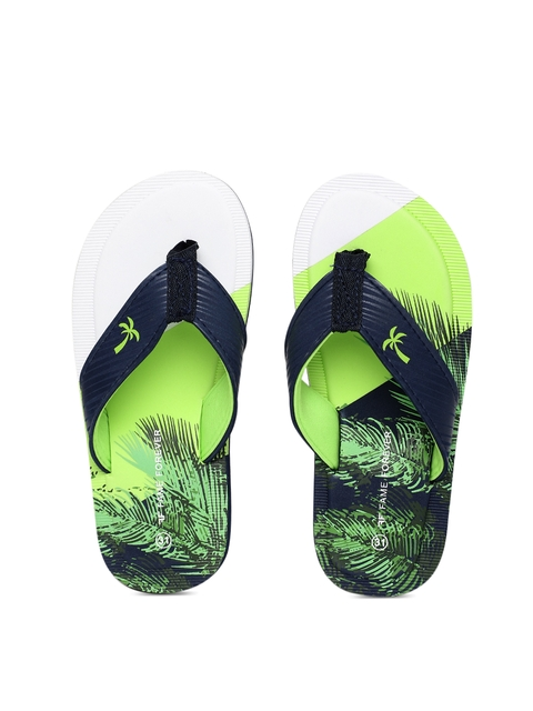 Fame Forever by Lifestyle Boys Navy Blue & Green Printed Thong Flip-Flops
