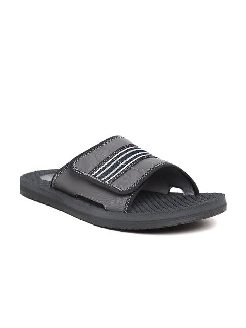 Clarks Men Charcoal Grey Solid Sliders