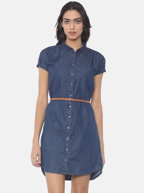 Pepe Jeans Women Blue Solid Shirt Dress
