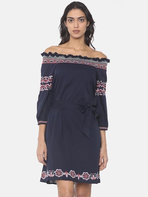 Pepe Jeans Women Blue Solid Off-Shoulder Shirt Dress