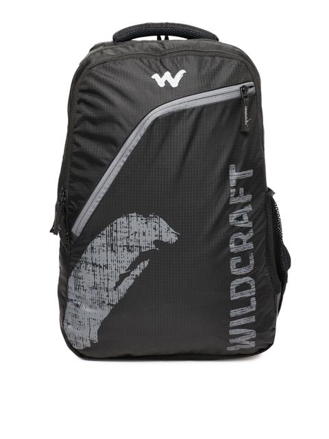 Wildcraft Men Black Brand Logo Backpack