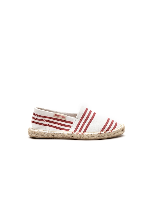 United Colors of Benetton Girls White & Maroon Striped Espadrilles