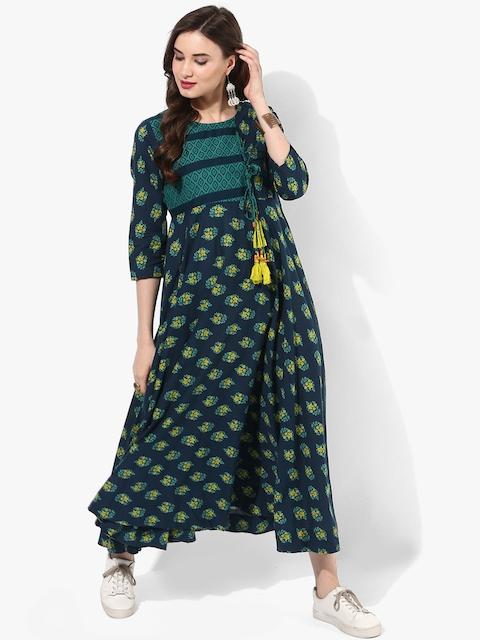 Sangria Women Blue Printed Anarkali Kurta Dress