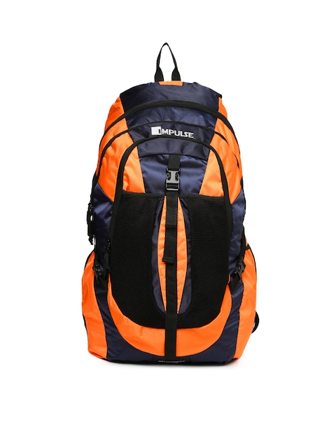 Impulse Unisex Orange & Navy Colourblocked Air Contact 65 Litres Rucksack