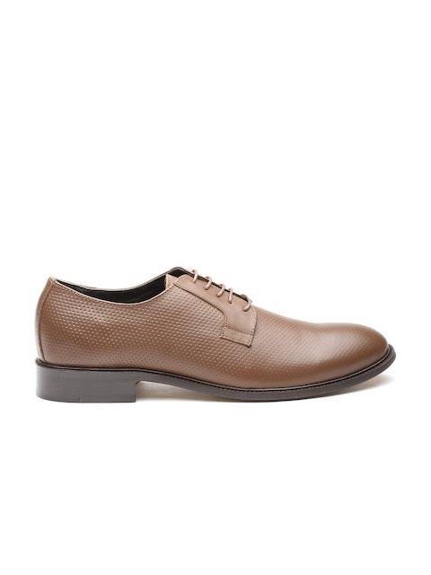 CARLTON LONDON Men Brown Leather Textured Formal Derbys