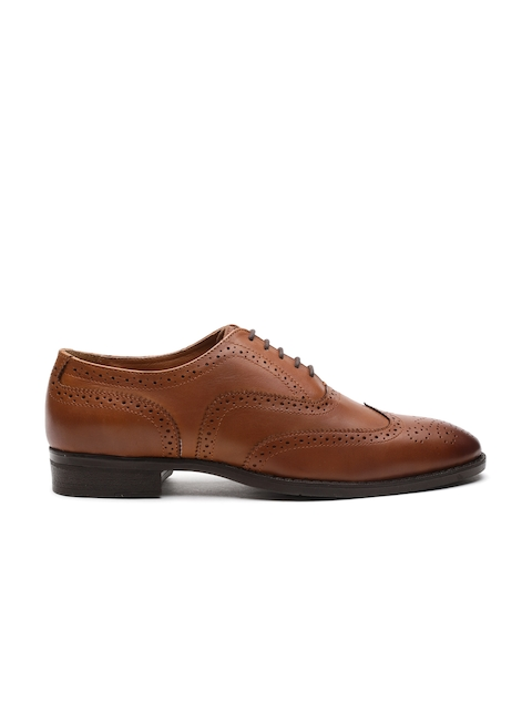 Carlton London Men Tan Brown Leather Formal Brogues