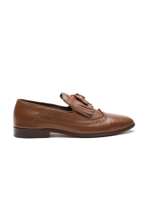 Carlton London Men Tan Leather Tasselled Formal Brogues