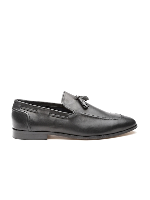 CARLTON LONDON Men Black Leather Tasselled Semiformal Slip-ons