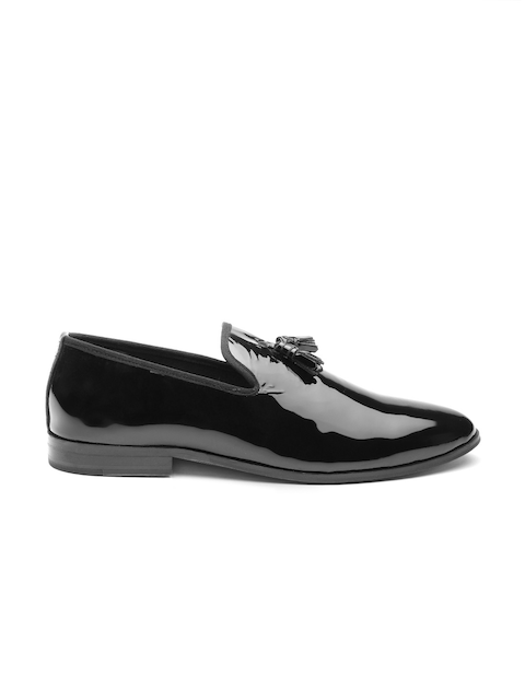 Carlton London Men Black Patent Leather Tasselled Semiformal Slip-Ons