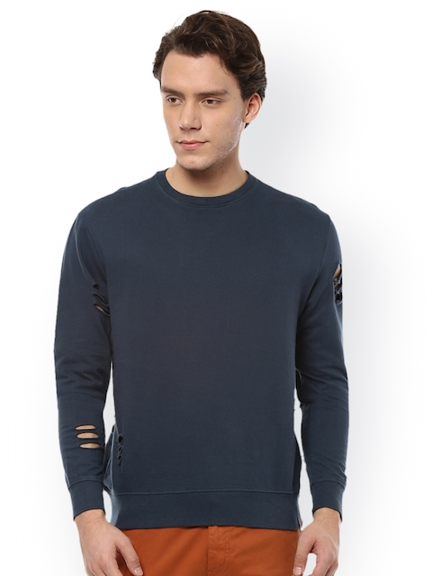 People Men Blue Solid Sweatshirt