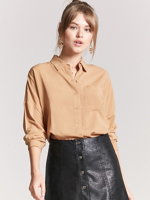 FOREVER 21 Women Beige Regular Fit Solid Casual Shirt
