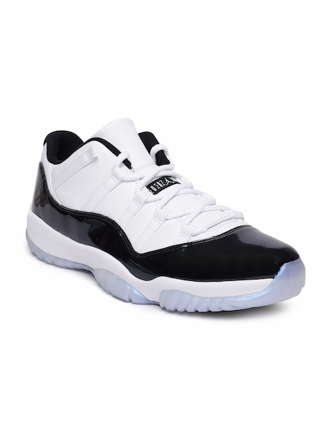 Nike Men White & Black Air Jordan 11 Retro Low Leather Basketball Shoes