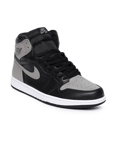 Nike Men Black & Grey Air Jordan 1 Retro High OG Leather Basketball Shoes