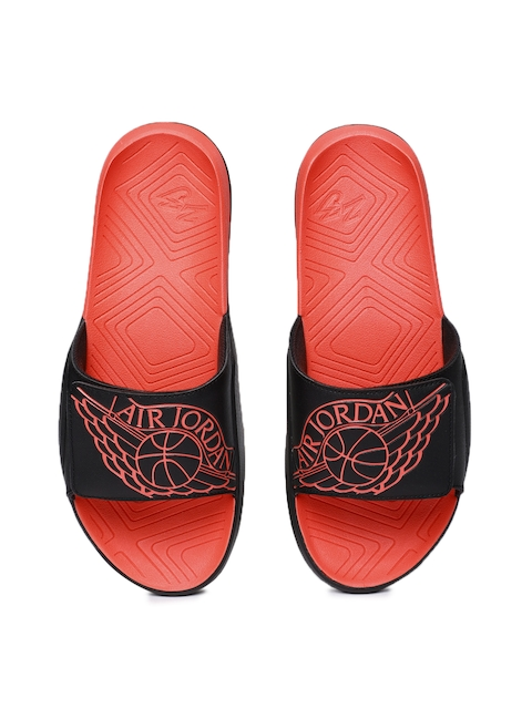Nike Men Black & Red Jordan Hydro 7 Printed Sliders
