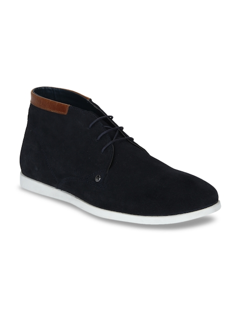 Red Tape Men Navy Blue Solid Leather Mid-Top Flat Boots