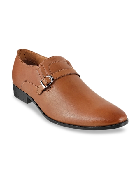 Metro Mens Tan Leather Slip-on Formal Shoes