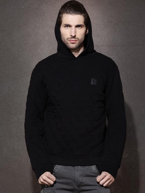 RDSTR Black Quilted Hooded Sweatshirt