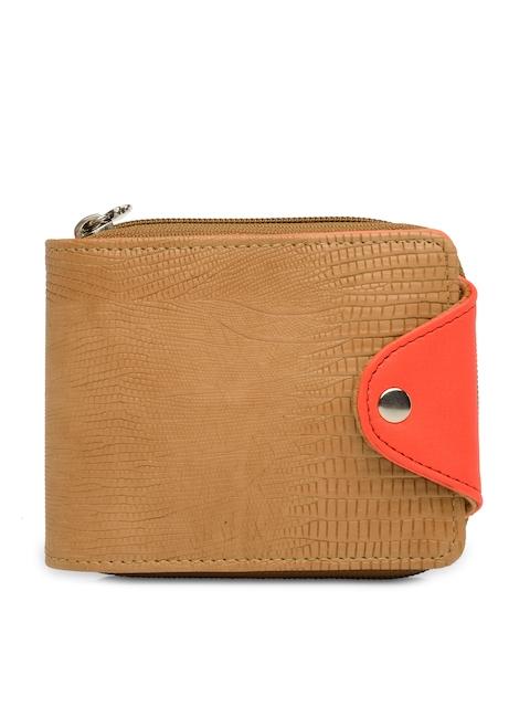 Butterflies Women Tan Solid Zip Around Wallet